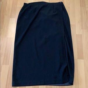 Black maxi length wrap skirt